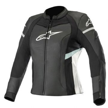 Alpinestars Stella Kira Ladies Leather Motorcycle Bike Jacket Black White Teal
